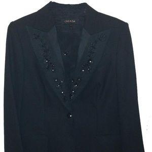 Elegant Escada Tuxedo Dinner Jacket w Beaded Lapel